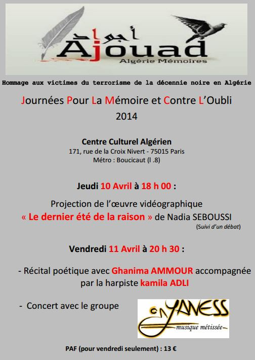 Paris 10 - 11 avril : Ajouad Algérie Mémoires